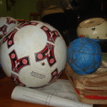 Hand made ball on right